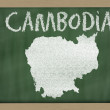 Stock Photo: Outline map of cambodion blackboard