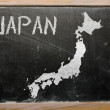 Outline map of japan on blackboard — Foto de Stock