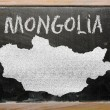 Outline map of mongolia on blackboard — Foto de Stock