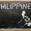 Outline map of philippines on blackboard — Foto de Stock
