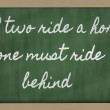 Stock Photo: Expression - If two ride horse, one must ride behind - writte