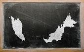 Carte muette de la malaisie sur tableau noir — Photo