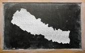 Mapa de contorno de nepal en pizarra — Foto de Stock
