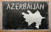 Outline map of azerbaijan on blackboard — Stock Photo