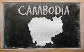 Outline map of cambodia on blackboard — Stock Photo