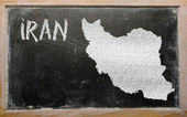 Outline map of iran on blackboard — Stock Photo