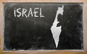 Outline map of israel on blackboard — Stock Photo