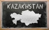 Overzicht-kaart van kazachstan op blackboard — Stockfoto