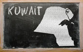 Outline map of kuwait on blackboard — Stock Photo