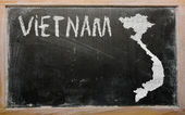 Outline map of vietnam on blackboard — Stok fotoğraf