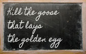 Expression - Kill the goose that lays the golden egg — Foto de Stock