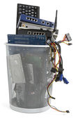Electronic scrap in trash can — Stock Photo