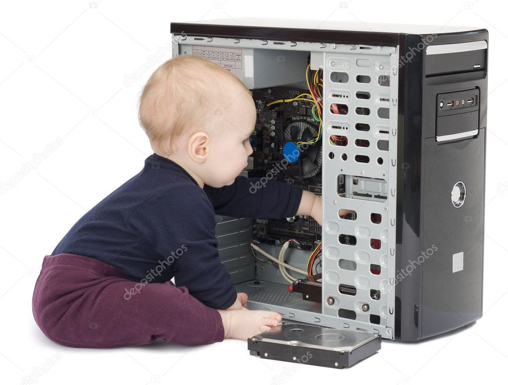Young child in blue shirt with open computer on white background — Stock Photo #8162064