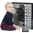 Young child with open computer — Stock Photo #8178139