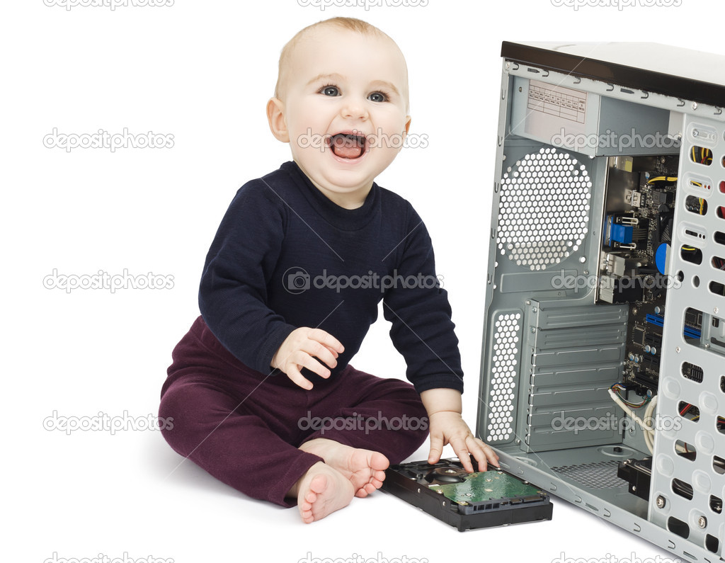 Young child in blue shirt with open computer on white background — Stock Photo #8228418