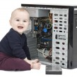 Young child with open computer — Stock Photo #8695402