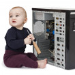Young child with open computer — Stock Photo #8745286