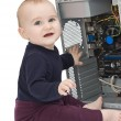 Young child with open computer — Stock Photo #8876010