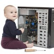 Young child with open computer — Stock Photo