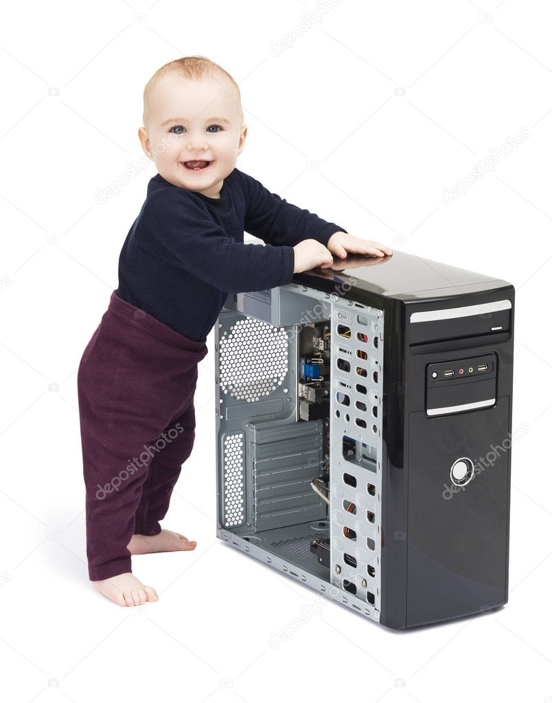 Young child in blue shirt with open computer on white background — Stock Photo #8959705