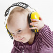 Young child with ear protector — Foto Stock