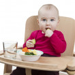 Young child eating in high chair — Stock Photo