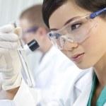 scienziato cinese donna femminile con la provetta in laboratorio — Foto Stock
