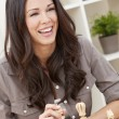 Happy Smiling Beautiful Woman Playing Chess — Stock Photo