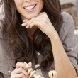 Royalty-Free Stock Photo: Beautiful Brunette Woman Playing Chess