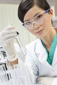 Chinese Female Woman Scientist With Test Tube In Laboratory — Stock Photo