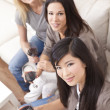 Interracial Group Three Women Friends Drinking Wine Together at - Stockfoto