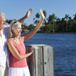 Happy Senior Couple Waving Outside in Sunshine by Sea - Stok fotoğraf