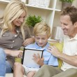 Young Family Parents & Boy Son Using Tablet Computer — Stock Photo