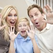Happy Family Having Fun Sitting Laughing At Home — Stock Photo
