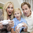 Family Having Fun Playing Video Console Game — Stock Photo