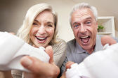 Senior Man & Woman Couple Playing Video Console Game — Stock Photo