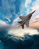 F-15 Eagle flying through the clouds — Stock Photo