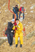 Young couple on the ropeway — Stock Photo