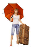 Young lady with an umbrella and a suitecase — Stock Photo