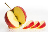 Fresh Apple Fruits with slices and Water drops. — Stock Photo