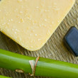 Bamboo, crystals, minerals and soap in spa treatments — Stock Photo