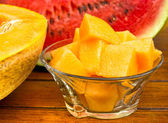 Melon - cantaloupe and watermelon — Stock Photo