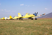 Agricultural aircraft squadron — Stock Photo