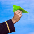 Paper plane in hand — Stock Photo