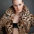 Portrait of a beautiful young woman in a fur. — Stock Photo