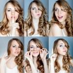 collage van emoties een jong meisje — Stockfoto