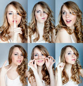 Collage of emotions a young girl — Stock Photo