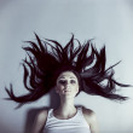 Young black hair woman portrait — Stock Photo