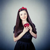 Portrait of a girl, in snow white costume — Stock Photo