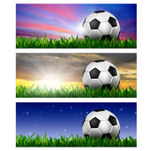 Timeline Cover ( Ratio 851x315 ) - football in green grass — Stock Photo